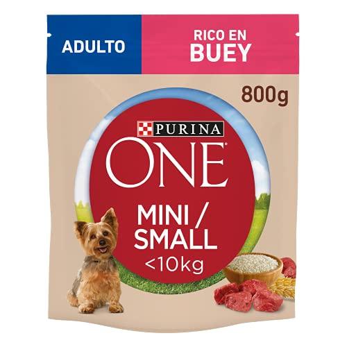 Purina ONE Mini Pienso para Perro Adulto Buey y Arroz 8 x 800 g