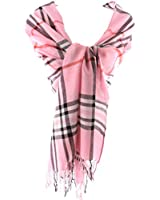 Long Preppy Style Checkerboard Plaid Print Soft Light Cotton Blend Scarf (Baby Pink)