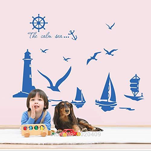 JXMN Gaviota Velero Faro Rompeolas Pegatinas de Pared Muebles Decoración Pegatinas Niños Calcomanía Carta Papel Tapiz Habitación de los niños 112x94cm