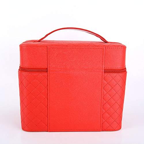 Version coréenne de la boîte à bijoux portable multifonctionnelle de boîte à bijoux sac cosmétique brodé ouvert quatre (Couleur : Rouge)