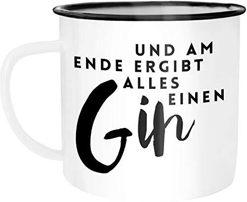 Moonworks Emaille Tasse Becher Und am Ende ergibt alles einen Gin Spruch Wortspiel Kaffeetasse weiß-schwarz unisize