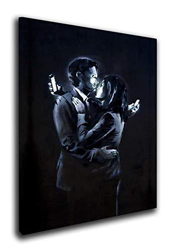 M2M Prints Leinwanddruck Banksy Mobile Art, Canvas, Multi, 127x76cm (50x30 Inches)