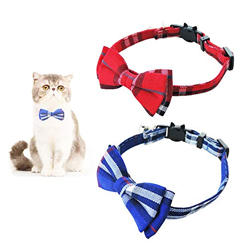 Andiker Collar de Liberación Rápida para Gatos, Collar de Seguridad para Gatos con Campanilla y Pajarita, Collar para Mascotas Suave y Ajustable para Perros Pequeños Gatito, 2 Piezas (Azul,Roj