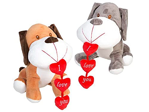 ARTESANIA BEATRIZ 1 Perro de Peluche con Corazon en la Boca con Frase de Amor de 30cm (Marron) Regalo para el Dia de Las Madres
