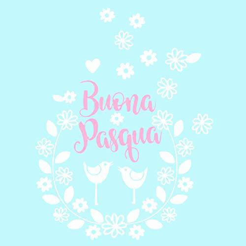 Vetrofanie -Vetrofania Pasqua - Ghirlanda Buona Pasqua- Bianco/Rosa - Vetrofanie per Pasqua, vetrine Negozi, Stickers, Adesivi