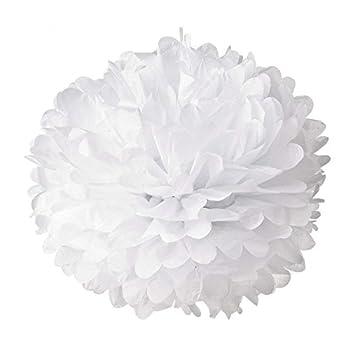 Hmxpls 10pcs White Tissue Hanging Paper Pom-poms Flower Ball Wedding Party Outdoor Decoration Premium Tissue Paper Pom Pom Flowers Craft Kit
