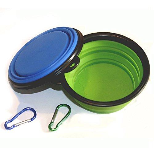 Sunnysam Collapsible Dog Bowl, Faltbare, erweiterbare Tassenschale für Katzenfutter Wasserfütterung Tragbare Reiseschale Kostenloser Karabiner (- Grün + Blu)