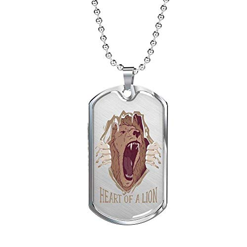 Express Your Love Gifts Heart of a Lion Dog Tag Stainless Steel Oro 18k Gold 24' Cadena