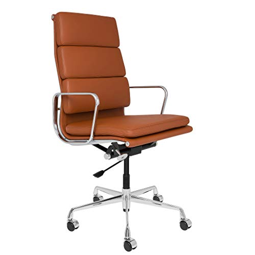SOHO Premier Tall Back Soft Pad Management Chair - Adjustable, Modern Italian Leather (with Armrests) (Brown)