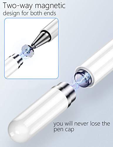 Dimples Excel Stift Stylus Eingabestift Pen Pencil Touchstift Kompatibel für Apple iPad Pro Mini Air Tablets Touchscreen iPhone Surface Präzision Kapazitive Laptop Tablet Disc (White)