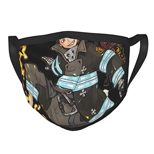 Northwest Fire Force-Shinra Adult Dust Black Border Face Cover Washable Reusable Replaceable Outdoor Riding Decoration Style Sports Running/Cycling/Travel/Working/Office/School