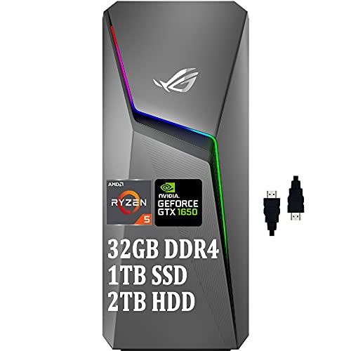 Asus ROG Strix GL10DH 2021 Premium Gaming Desktop I AMD 4-Core Ryzen 5 3400G (> i7-7700T) I 32GB DDR4 1TB SSD 2TB HDD I GeForce GTX 1650 4GB I WiFi Bluetooth DTS Win10 Gray + Delca HDMI Cable