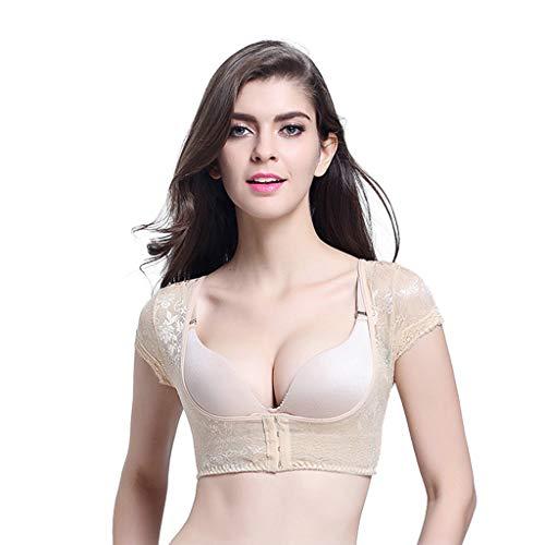 Lenfeshing Faja Reductora Mujer Adelgazante Fajas Moldeadoras Shapewear sin Costura Compresión Camiseta Lencería Moldeadora Brazo Encaje Adelgazante