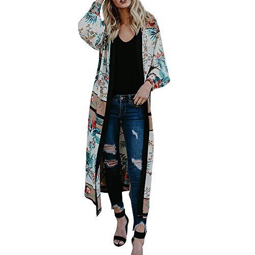 FeiBeauty Frauen-lange Hülsen-Druck-ethnische Wind-Kimono-Windbreaker-Jacke damen Mode-reizvolle Verband-Strickjacke-Strand-Abdeckungs-Jacke