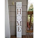 Rea66de Welcome to Our Home Schild für den Außenbereich, großes vertikales Willkommensschild für...