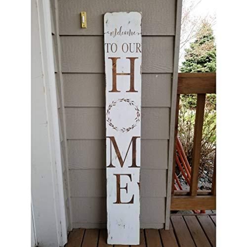 Rea66de Welcome to Our Home Schild für den Außenbereich, großes vertikales Willkommensschild für Terrasse, Veranda, Willkommensschild
