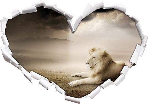 Blanc Fier Forme de Coeur Roi Lion dans Le Regard 3D, Mur ou Une Porte Autocollant Format: 92x64.5cm, Stickers muraux, Stickers muraux, Wanddekoratio
