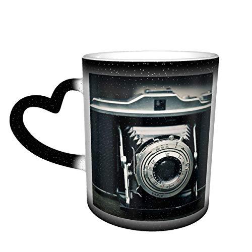 IUBBKI Cámara fotográfica Cámara Agfa Isolette Fotografía Taza que cambia de color antiguo en el cielo Taza de cerámica Taza de café Regalo de cumpleaños de Navidad