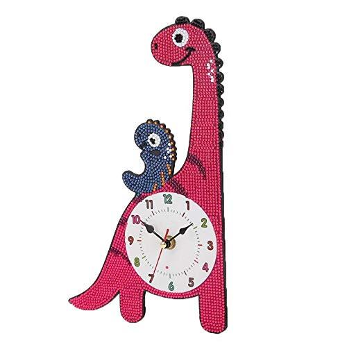 Reloj de pared Dibujos animados taladro completo diamante Pintura de la jirafa de la vaca lechera de la personalidad del ornamento de punto de cruz reloj de pared Inicio Craft ornamento-03_United Unid