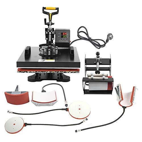 Wakects Máquina de transferencia de calor 6 en 1, Máquina de tazas de cocina, máquina de prensa de calor, con control de temporizador y control de temperatura