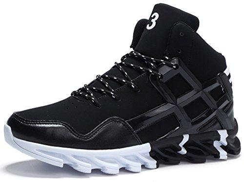 PORTANT Uomo Alto Scarpe da Basket Sportive Sneaker Fitness Interior Running Casual Corsa Ginnastica all'Aperto Nero Bianco 45