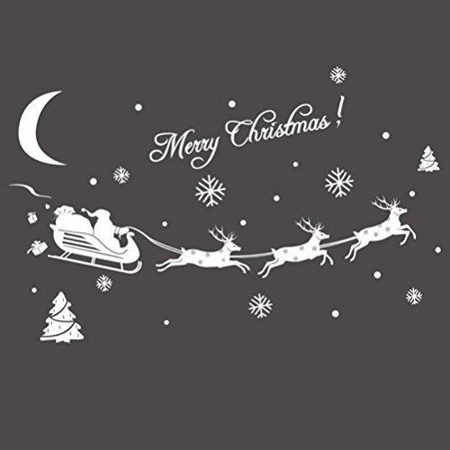 ROSENICE Fenster Sticker Weihnachten Hirsch Schneeflocke Fensterdekoration zu Weihnachten Wandtattoo Deko Sticker Autoaufkleber Schaufenster (weiß)