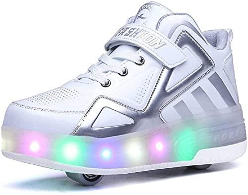 Aupast 7 Farben wechselnde LED Roller Skate Schuhe mit Rädern Inline Automatischer Einziehbarer Technischer Skateboardschuh Sport Outdoor Crosstrainer Vibration Blinkende Gymnastik Turnschuhe,Weiß-