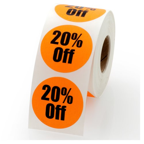 """20% Off Sale Retail Round Pricing Label/Stickers 1.5"""" - 500 Labels per roll, 1 roll per Package"""