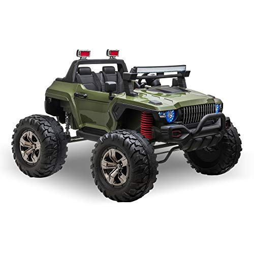 Aosom Ride On Car Off Road Truck SUV 12 V Electric Battery Powered with Remote Control and MP3, Adjustable Speed, Green