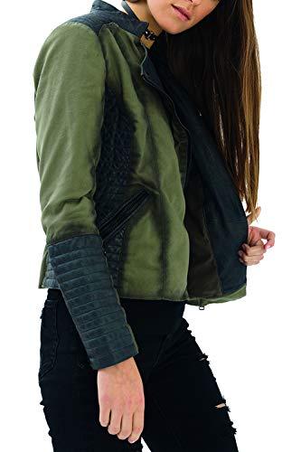 trueprodigy Casual Mujer Marca Chaqueta Moto Basico Ropa Retro Vintage Rock Vestir Moda Deportivo Slim Fit Designer Fashion Jacket con Detalles de Cuero, Colores:Khaki, Tamaño:XS