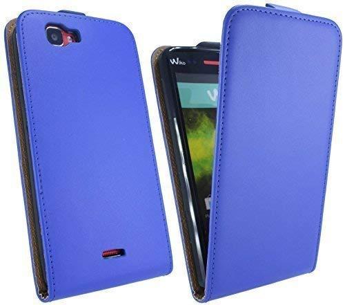 ENERGMiX Klapptasche Schutztasche kompatibel mit Wiko Rainbow 4G LTE in Blau Tasche Hülle