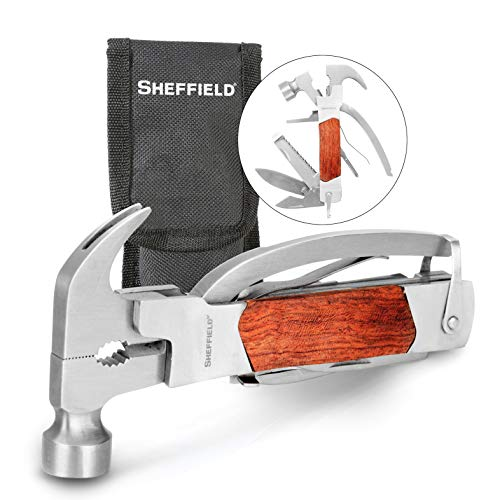Sheffield 12913 Premium 14-in-1 Hammer Multi Tool, Multipurpose Tool for the Home, Camping Equipment, and Work, Hammer, Pliers, Survival Knife, & More