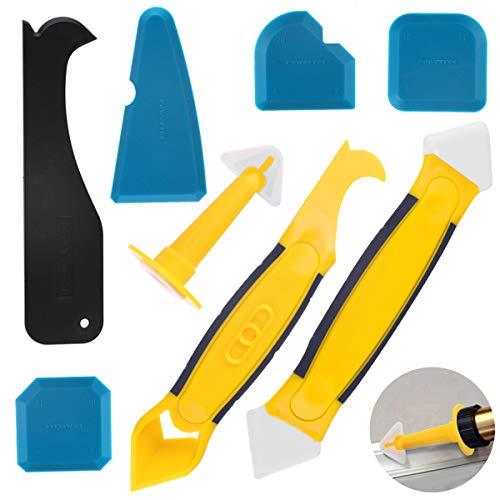 SMAtech Silikonentferner & Silikon Fugenwerkzeug,Multifunktional 8 in 1 Profi Silikon Werkzeug Schaber Set für Küche Badezimmer Boden