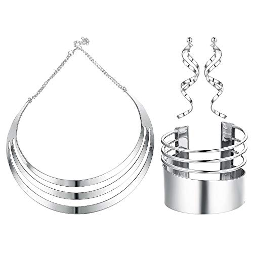 Udalyn Bib Choker Necklace Set for Women Wide Cuff Bangle Bracelets Statement Dangle Earrings Jewelry
