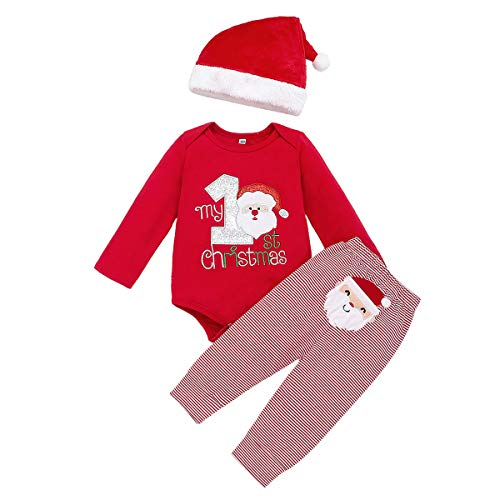 Arleysh Christmas Outfits Baby Boys Girls My 1st Christmas Santa Claus Rompers Bodysuit Pants with Christmas Hat 3 Pcs (0-3 Months, Red)