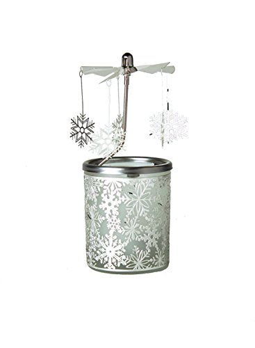 """Kerzenfarm, """"Schneeflocke"""" Dreh-Karussell für Teelichter, Metall und Glas, 16,5cm hoch, silberfarben"""