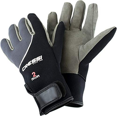 Cressi UnisexErwachsene Tropical Gloves Handschuhe für Wassersport in Amara und Neopren 2 mm, Schwarz/Grau, XL