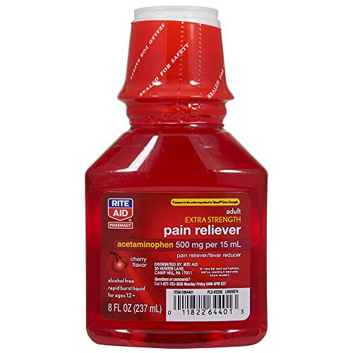 Rite Aid Adult Extra Strength Pain Reliever, Cherry Flavor, 500mg/15mL - 8 fl oz