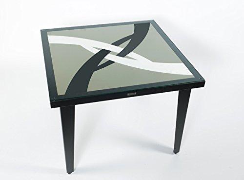 Styl'Métal 21 Table Illusion 100x100 métal Noir, Taupe et Blanc