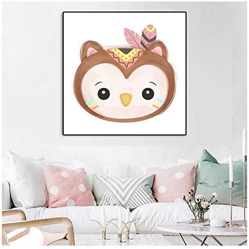 cuadros decoracion salon Cuadro de lienzo de animales de dibujos animados, póster de decoración del hogar para sala de estar, guardería, dormitorio infantil, impresiones artísticas de pared e imagen