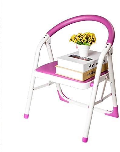 CHGDFQ Taburete plegable de escalera para el hogar, silla plegable de doble uso, silla de oficina, silla de escalera interior engrosada (color: rosa)