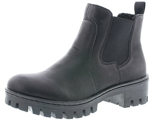 Rieker Damen Chelsea Boots 75750,Frauen Stiefel,Halbstiefel,Stiefelette,Bootie,Schlupfstiefel,flach,Blockabsatz 4.6cm,schwarz, EU 38