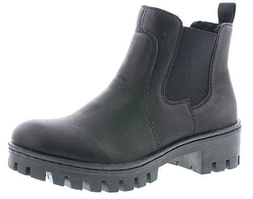 Rieker Damen Chelsea Boots 75750,Frauen Stiefel,Halbstiefel,Stiefelette,Bootie,Schlupfstiefel,flach,Blockabsatz 4.6cm,schwarz, EU 39
