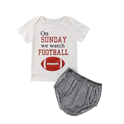Wide.ling 2 Stks Peuter Baby Kid Meisjes Outfits Horloge Rugby Voetbal Letters Print T-shirt met korte mouw + Gestreepte Shorts