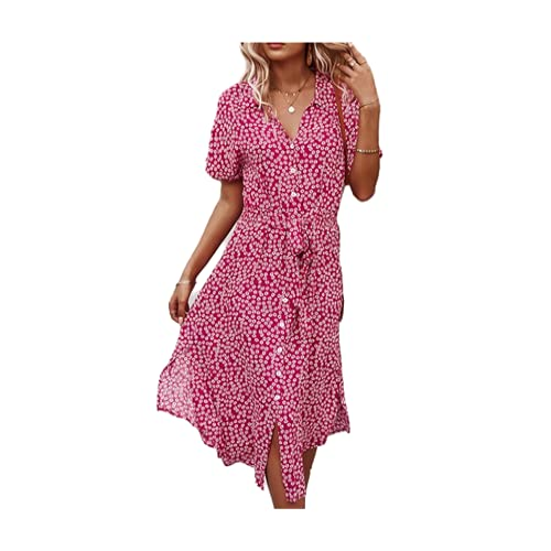 N\P Playa Boho Verano Vestido Camisa Floral Vintage Cintura Alta Vestidos Mujeres Casual