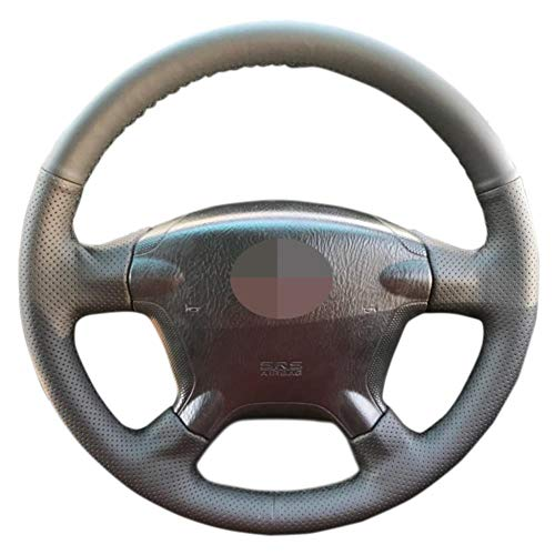 YHDNCG La Cubierta del Volante del Coche de Cuero Negro Cosida a Mano es Antideslizante y Resistente al Desgaste, para el Interior del Coche Honda CRV CR-V 2003 2004 2005 2006