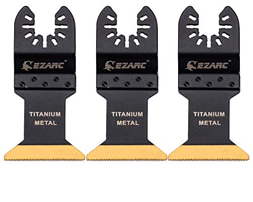 Best Deals! EZARC Titanium Oscillating Multitool Blade for Wood, Metal and Hard Material, 3-Pack