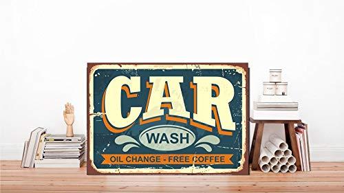 Dozili Autowaschschild, Auto-Wasch-Metallschild, klassischer Auto-Druck, Auto-Wasch-Dekoration, Metall, Wanddekoration, Originelles Kunstwerk, Metallschild, 20,3 x 30,5 cm