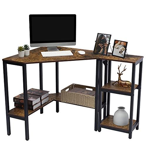 Lavievert Corner Desk, Triangle Computer Desk with Storage Shelf and Keyboard...