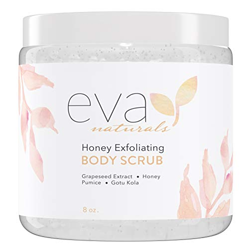 Honey Exfoliating Body Scrub – Hydrating Body Exfoliator Infused with Natural Extracts Smooths and Nourishes Skin – Gentle Honey Skin Scrub Self Care Gifts for Women and Men by Eva Naturals, 8 oz.